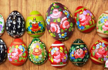 Easter eggs as fridge magnets. Swallow depth off field