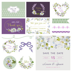 Scrapbook Design Elements - Wedding Flower Lily Theme - in vector