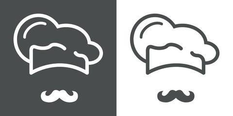 Icono plano gorro de cocinero y bigote #1