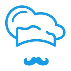 Icono plano gorro de cocinero y bigote azul #1