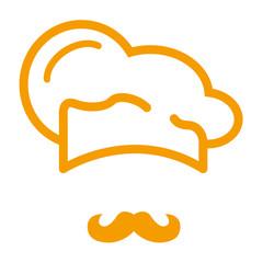 Icono plano gorro de cocinero y bigote naranja #1