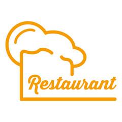 Icono plano redondo gorro de cocinero y restaurant naranja #1