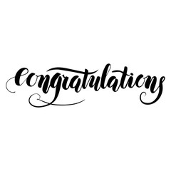 Congratulations, ink handmade lettering. Design element. Vector calligraphy