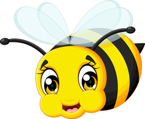 cartoon cute baby bee flying isolated white background