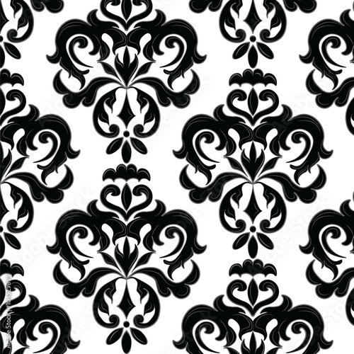 Classic Gothic Style Ornament Pattern In Black And White Vector