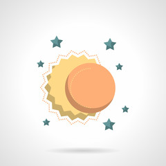 Celestial bodies flat color design vector icon