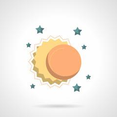 Celestial bodies flat color design vector icon