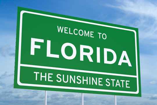 Welcome to Florida concept on road sign