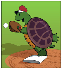 Turtle at first / A turtle plays first base.