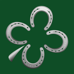 Horseshoes forming a clover leaf as a symbol for good luck. Vector illustration on green background.