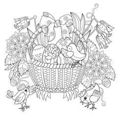 Hand drawn doodle outline easter eggs in basket