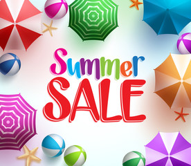 Summer Sale in Colorful Umbrella Background with Beach Balls and Starfish for Summer Promotions. Vector Illustration