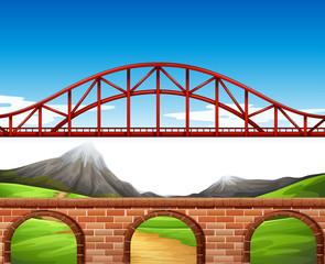 Nature scene with bridge and wall