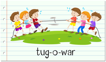 Children playing tug-o-war