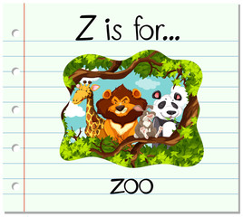 Flashcard letter Z is for zoo