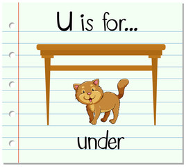 Flashcard letter U is for under