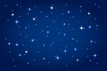 Night sky with shining stars background. Vector horizontal