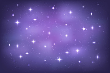 Night sky with glittering stars background. Vector