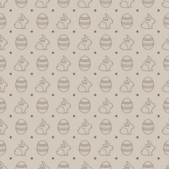 Seamless pattern with eggs and rabbits