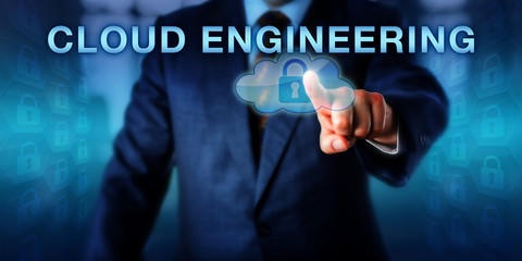 Software Engineer Pointing At CLOUD ENGINEERING