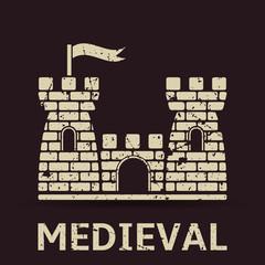 Medieval castle vector grunge banner
