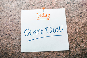 Start Diet Reminder For Today On Paper Pinned On Cork Board