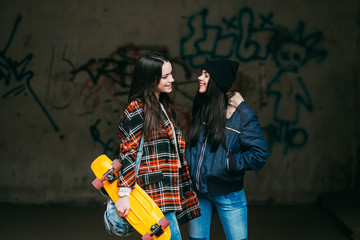 Two trendy and funny street girls