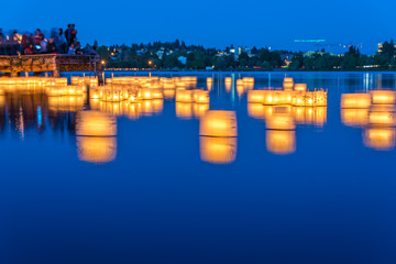 lantern floating on green lake park for memorial of Hiroshima,Seattle,Washington,usa.