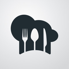 Icono plano gorro de cocinero sobre fondo degradado #2