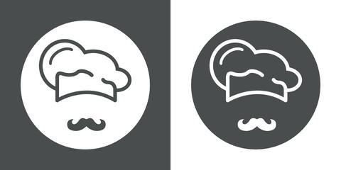 Icono plano gorro de cocinero y bigote #2