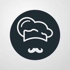 Icono plano gorro de cocinero y bigote sobre fondo degradado #2
