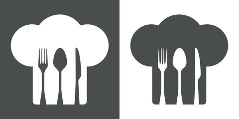 Icono plano gorro de cocinero y cubiertos #1