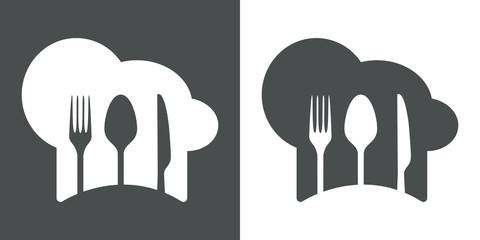 Icono plano gorro de cocinero y cubiertos #2