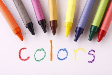 Colorful crayons and the word colors