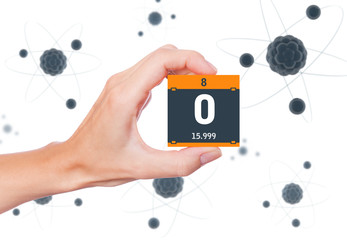 Oxygen element symbol handheld and atoms floating in background