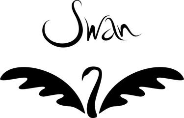 Vector Minimalistic Swan Logo. Beautiful Black Swan Tattoo