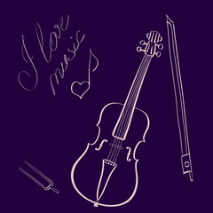 Vector illustration hand drawn violin with bow and tuning fork and handwritten title I love music with music note looking like heart