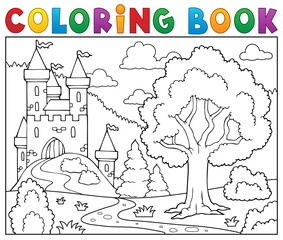 Coloring book castle and tree