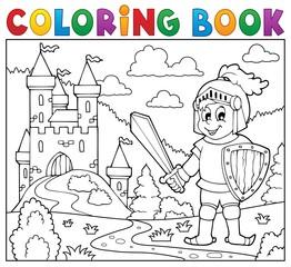 Coloring book knight near castle