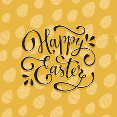 Greeting card with Easter eggs on yellow background. Happy Easter wording. Easter eggs with ornaments seamless pattern with text.