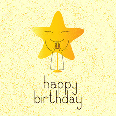 Happy birthday greeting card with musical star character