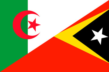 Waving flag of East Timor and Algeria