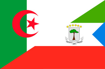 Waving flag of Equatorial and Algeria