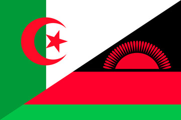 Waving flag of Malawi and Algeria