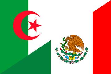 Waving flag of Mexico and Algeria