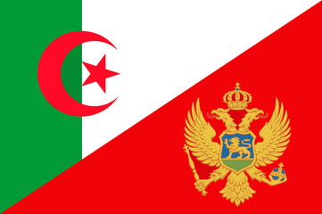 Waving flag of Montenegro and Algeria