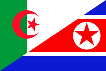 Waving flag of North Korea and Algeria
