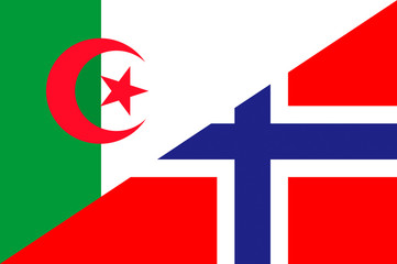 Waving flag of Norway and Algeria