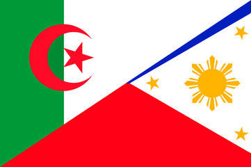 Waving flag of Philippines and Algeria
