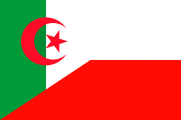 Waving flag of Poland and Algeria